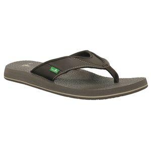 Sanuk Mens Beer Cozy Flip Flop Thong Sandals Brown